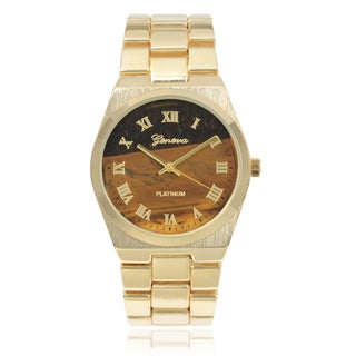 Geneva Platinum Roman Numeral Link Watch