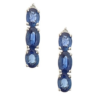 D'Yach 14k White Gold Blue Sapphire Diamond Accent Earrings