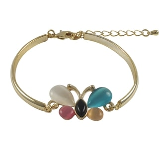 Luxiro Gold Finish Multi-color Butterfly Design Bangle Bracelet