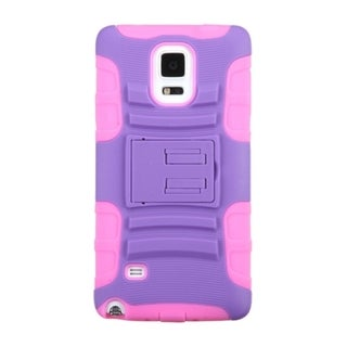 INSTEN Advanced Armor Dual Layer Hybrid Rubberized Hard PC/ Silicone Phone Case Cover With Stand For Samsung Galaxy Note 4