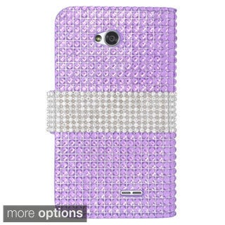 INSTEN Diamond Rhinestone Bling Leather Book-Style Phone Case Cover For LG Optimus Exceed 2 Verizon/ Optimus L70/ Realm