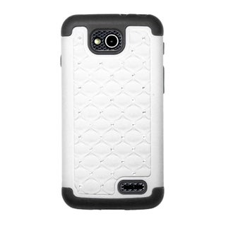 INSTEN Hybrid Lattice Rubberized Hard PC/ Silicone Phone Case Cover With Diamond For LG Optimus L90
