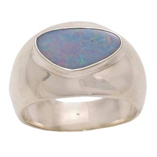 Men's Handmade Sterling Silver Opal 'Loyal Love' Ring (Indonesia)
