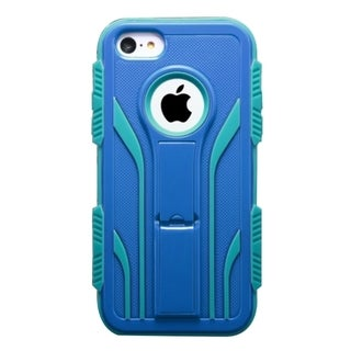 INSTEN Extreme Tuff Dual Layer Hybrid Rubberized Hard PC/ Silicone Phone Case Cover With Stand For Apple iPhone 5C