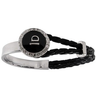 Luxiro Silvertone White Crystals Braided Leather Black Enamel Dome Bangle Bracelet