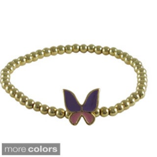 Luxiro Girls' Enamel Butterfly and Gold Finish Stretch Ball Beads Bracelet