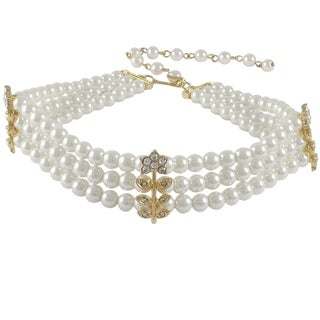 Luxiro Glass Faux Pearls Crystal Flower Three Row Choker Necklace