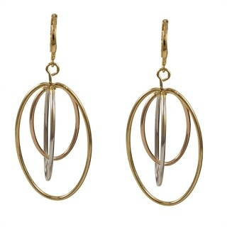 Luxiro Tri-tone Gold Floating Ovals Dangling Earrings