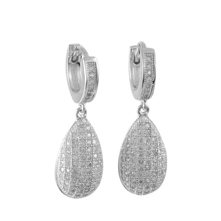 Luxiro Sterling Silver Micro-pave Cubic Zirconia Teardrop Drop Earrings