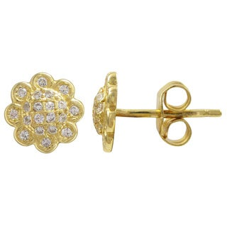 Luxiro Sterling Silver Micro-pave Cubic Zirconia Flower Stud Earrings