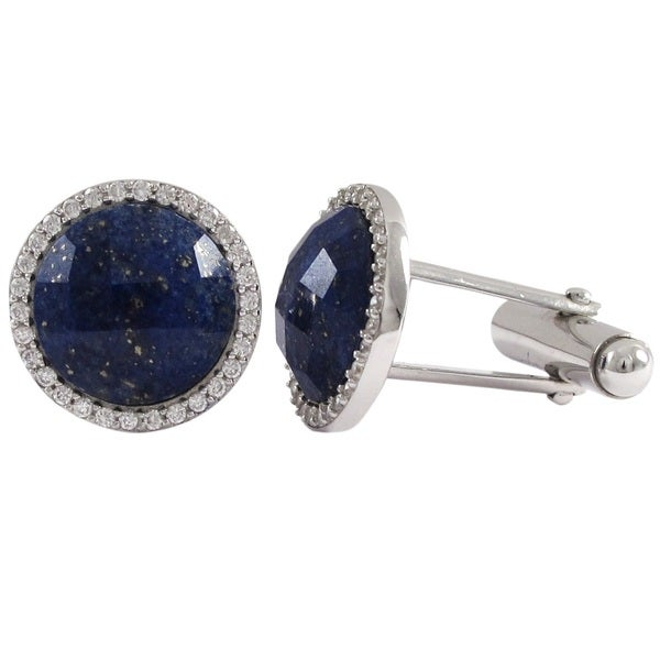 Luxiro Men's Sterling Silver Faceted Round Gemstone and Cubic Zirconia Cufflinks