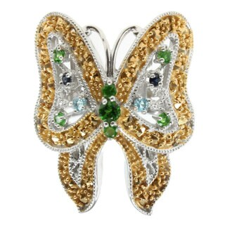 Dallas Prince Sterling Silver Marcasite and Blue Sapphire Butterfly Ring