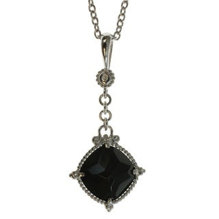 Michael Valitutti Sterling Silver Black Onyx and Diamond Accent Pendant