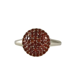 Luxiro Sterling Silver Round Red Cubic Zirconia Dome Right Hand Ring