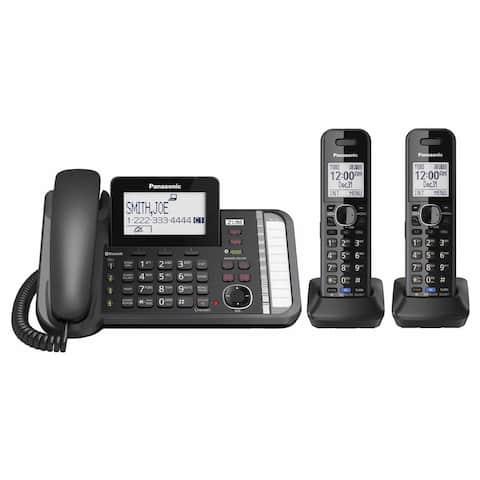 Panasonic KX-TG9582B Link to Cell DECT 6.0 2-handset 2-line Digital Cordless Phone