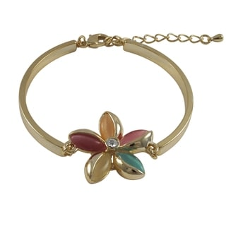 Luxiro Goldtone Flower Design Multi Color Crystal Bangle Bracelet