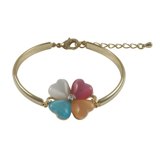 Luxiro Goldtone Finish Brass Four Leaf Clover Flower Bracelet