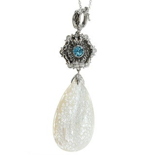 Dallas Prince Sterling Silver Mother of Pearl and Sky Blue Topaz Pendant Necklace