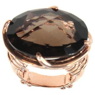 Dallas Prince Rose Gold over Silver Smokey Quartz Ring