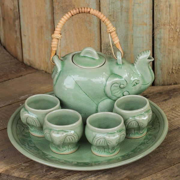Art Deco Supply Great Vintage Celadon Green Art Deco Ceramic Coffeepot Kitchen & Home