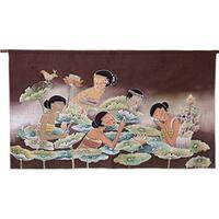 Handmade Cotton 'Lotus Pool' Batik Wall Hanging (Thailand)