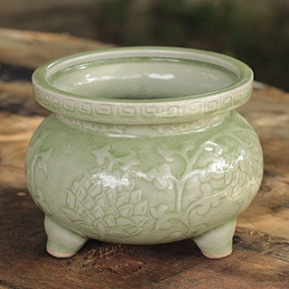 Celadon Ceramic 'Thai Forest' Incense Warmer (Thailand)