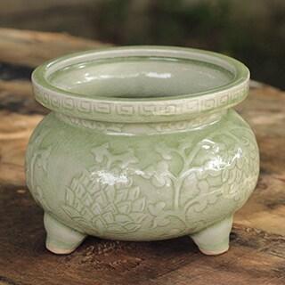 Celadon Ceramic 'Thai Forest' Incense Warmer (Thailand)