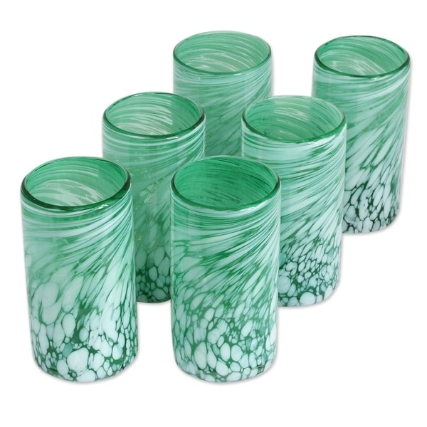 Handmade Glass Festive Green Drinking Glasses Set of 6 (Mexico)