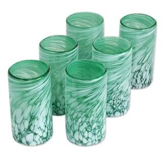 Handmade Set of 6 Glass 'Festive Green' Drinking Glasses (Mexico)