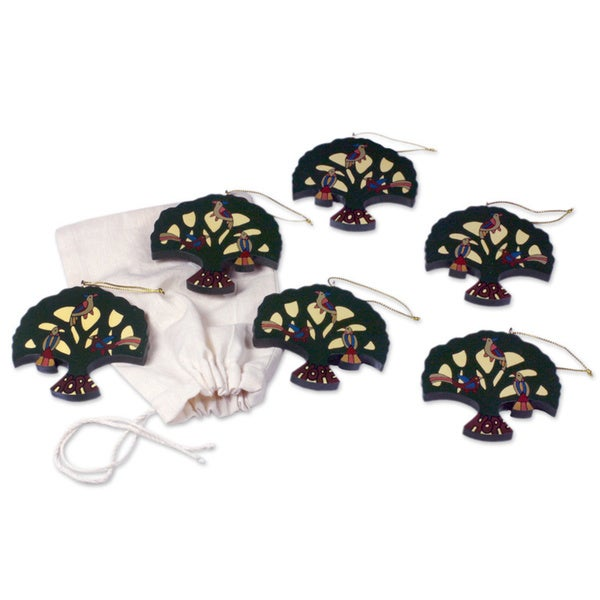 Handmade Set of 6 Pinewood 'Tree of Hope' Ornaments (El Salvador)