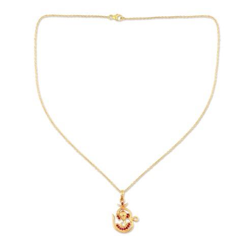 Handmade Gold Vermeil 'Om Ganesha' Ruby Necklace (India)