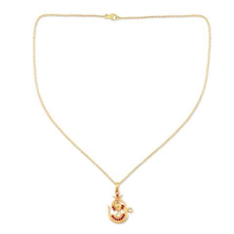 Gold Vermeil Om Ganesha Ruby Necklace (India)