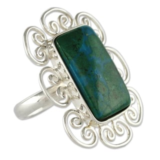 Handmade Sterling Silver 'Andean Purity' Chrysocolla Ring (Peru)