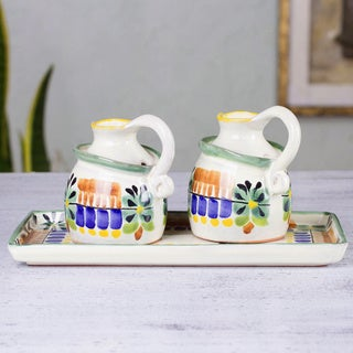 Handmade Set of 2 Majolica Ceramic 'Acapulco' Oil and Vinegar Set (Mexico)