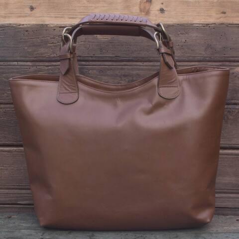 Handmade Leather 'Generosity' Tote Handbag (Mexico)