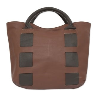 Handmade Leather 'Think Big' Tote Handbag (Mexico)