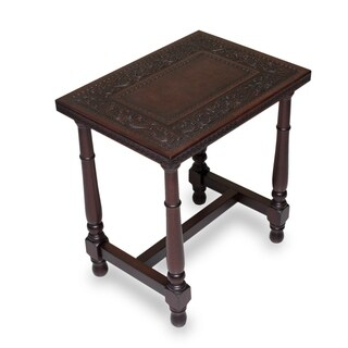 Brown Colonial Foliage Mohena Wood Rich Brown Hand Tooled Leather Furniture Home Decor Leather Side End Bedside Accent Table