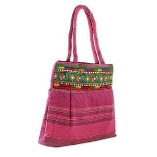 Handmade Cotton 'Majestic Pink' Shoulder Bag (India)