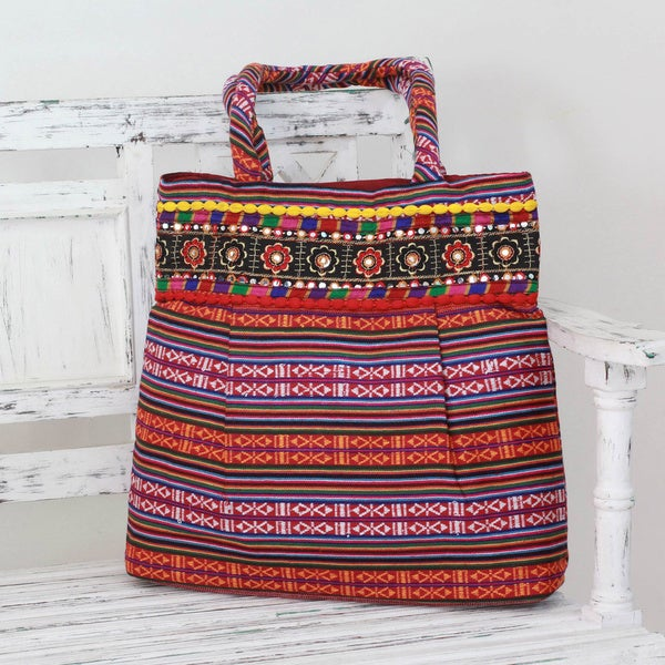 Hand-crafted Cotton 'Rainbow Charm' Shoulder Bag (India)