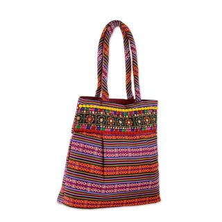 Handmade Cotton 'Rainbow Charm' Shoulder Bag (India)