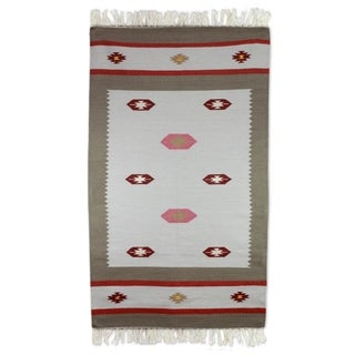 Hand-crafted Indo Wool 'Dreamy Delight' Dhurrie Rug (3' x 5')
