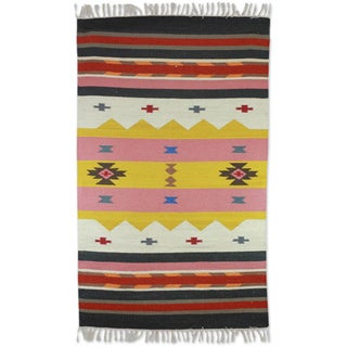 Hand-crafted Indo Wool 'Winter Feast' Dhurrie Rug (3' x 5') - Multi - 3' x 5'