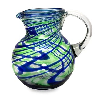 Handmade Blown Recycled Glass Elegant Energy Pitcher (Mexico)