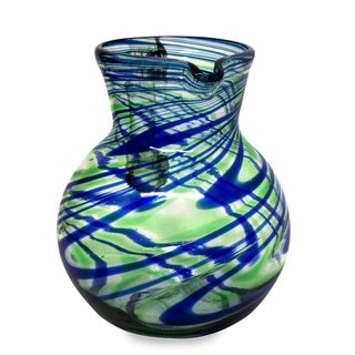 Blown Recycled Glass 'Elegant Energy' Pitcher (Mexico)