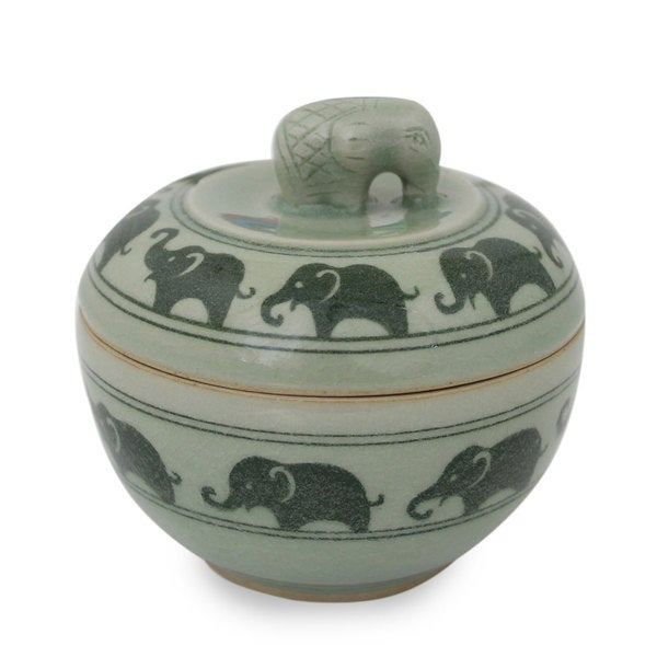 Handmade Celadon Ceramic 'Elephants On Parade' Box (Thailand)