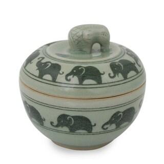 Handmade Celadon Ceramic 'Elephants On Parade' Box (Thailand)