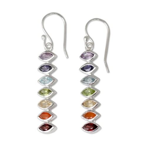 Sterling Silver 'Chakra Balance' Multi-gemstone Earrings (India)