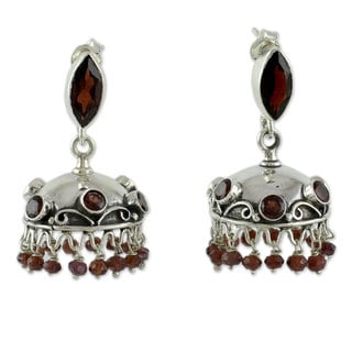 Hand-crafted Sterling Silver 'Scarlet Jhumki' Garnet Earrings (India)