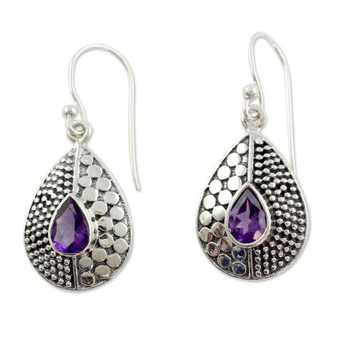 "Handmade Sterling Silver Purple Fusion Amethyst Earrings (India) - 8'3"" x 11'"