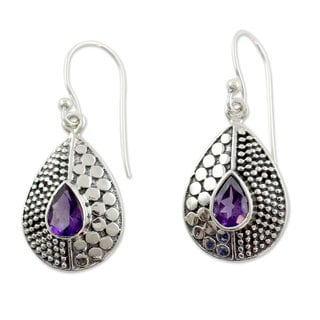 Hand-crafted Sterling Silver 'Purple Fusion' Amethyst Earrings (India)